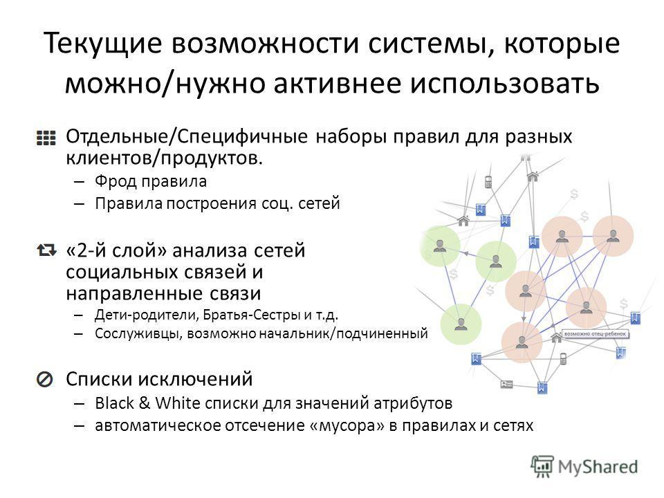 Текущие возможности системы, которые можно/нужно активнее использовать Отдельные/Специфичные наборы правил для разных клиентов/продуктов. – Фрод правила – Правила построения соц. сетей «2-й слой» анализа сетей социальных связей и направленные связи –