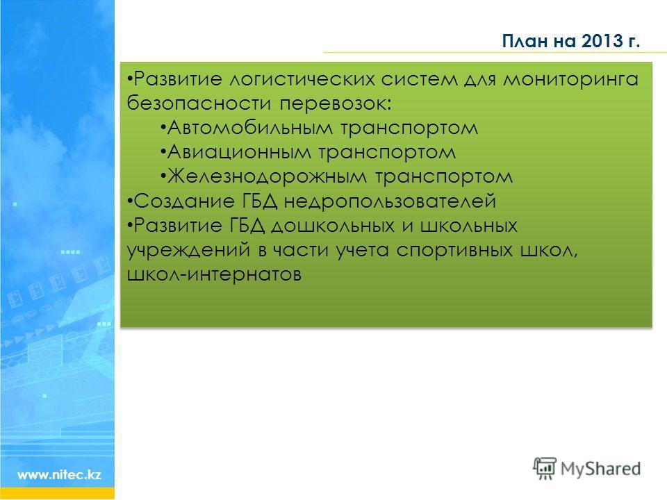 План на 2013 г. www.nitec.kz Развитие логистических систем для мониторинга безопасности перевозок: Автомобильным транспортом Авиационным транспортом Железнодорожным транспортом Создание ГБД недропользователей Развитие ГБД дошкольных и школьных учрежд