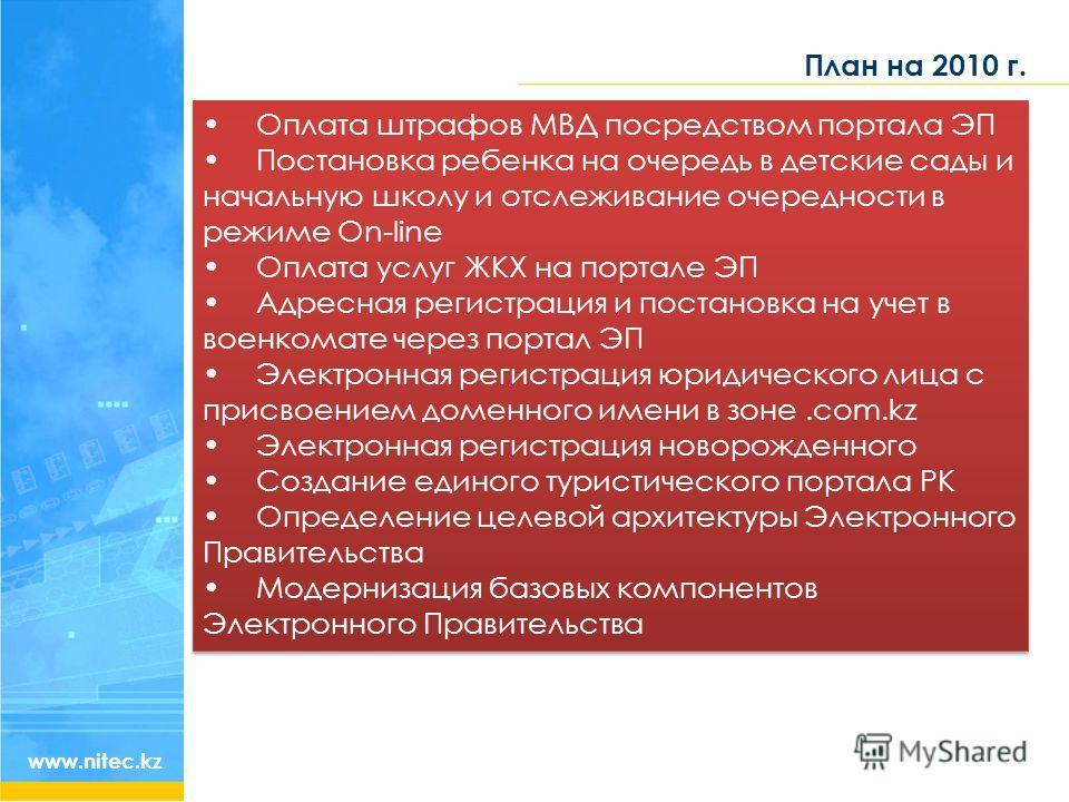План на 2010 г. www.nitec.kz Оплата штрафов МВД посредством портала ЭП Постановка ребенка на очередь в детские сады и начальную школу и отслеживание очередности в режиме On-line Оплата услуг ЖКХ на портале ЭП Адресная регистрация и постановка на учет