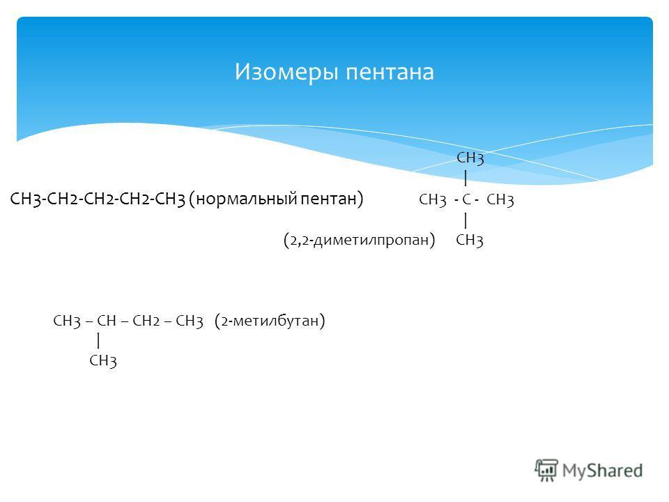 Изомеры пентана CH3 | СН3-CH2-CH2-CH2-CH3 (нормальный пентан) CH3 - C - CH3 | (2,2-диметилпропан) CH3 СН3 – СН – СН2 – СН3 (2-метилбутан) | CH3