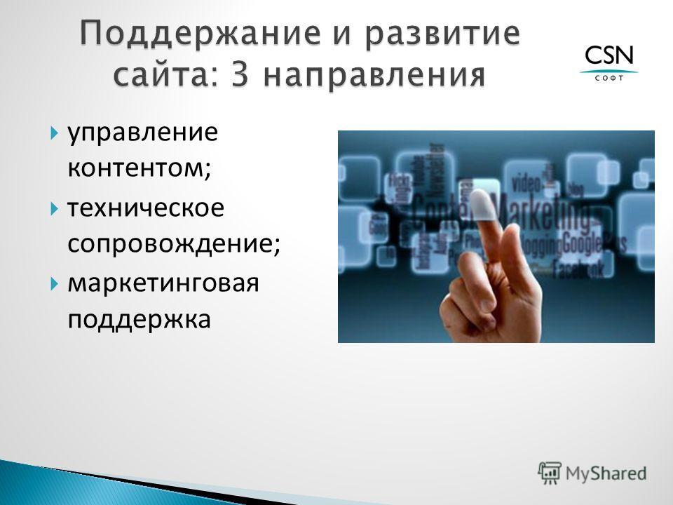 управление контентом; техническое сопровождение; маркетинговая поддержка