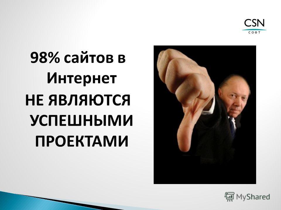 98% сайтов в Интернет НЕ ЯВЛЯЮТСЯ УСПЕШНЫМИ ПРОЕКТАМИ