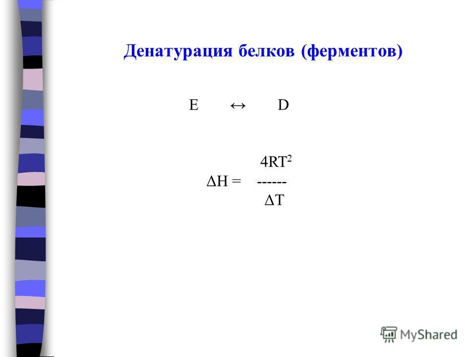 Денатурация белков (ферментов) E D 4RT 2 ΔH = ------ ΔT