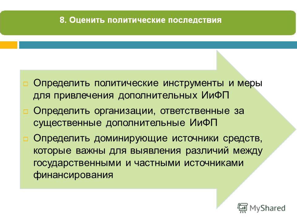 Определить политические инструменты и меры для привлечения дополнительных ИиФП Определить организации, ответственные за существенные дополнительные ИиФП Определить доминирующие источники средств, которые важны для выявления различий между государстве