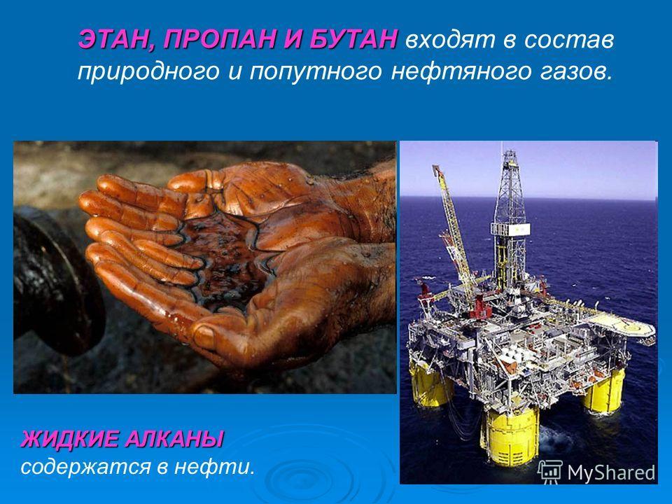 ЭТАН, ПРОПАН И БУТАН ЭТАН, ПРОПАН И БУТАН входят в состав природного и попутного нефтяного газов. ЖИДКИЕ АЛКАНЫ ЖИДКИЕ АЛКАНЫ содержатся в нефти.