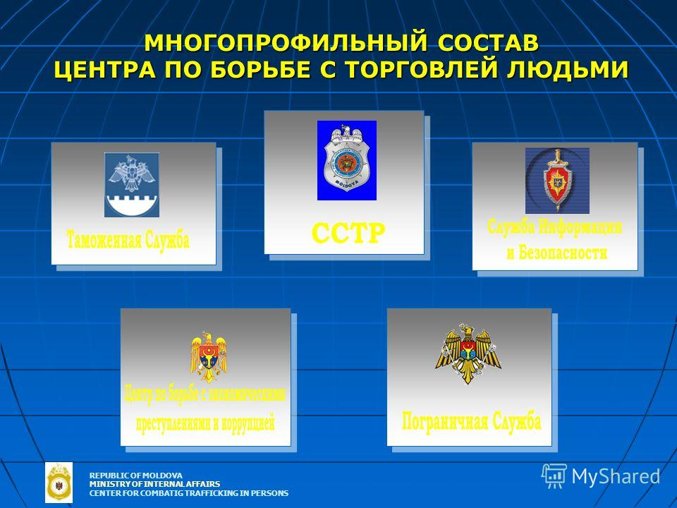 REPUBLIC OF MOLDOVA MINISTRY OF INTERNAL AFFAIRS CENTER FOR COMBATIG TRAFFICKING IN PERSONS МНОГОПРОФИЛЬНЫЙ СОСТАВ ЦЕНТРА ПО БОРЬБЕ С ТОРГОВЛЕЙ ЛЮДЬМИ