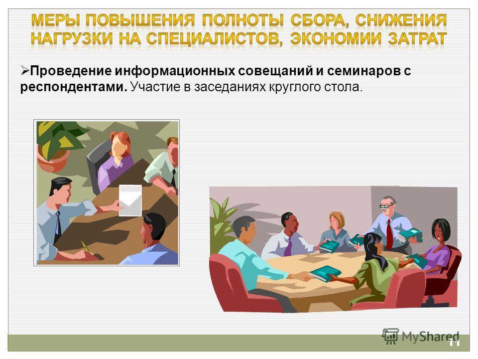 Проведение информационных совещаний и семинаров с респондентами. Участие в заседаниях круглого стола. 11