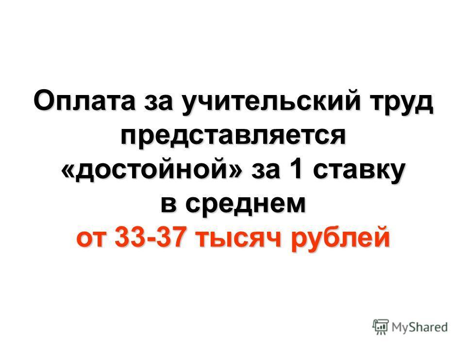Оплата за учительский труд представляется «достойной» за 1 ставку в среднем от 33-37 тысяч рублей