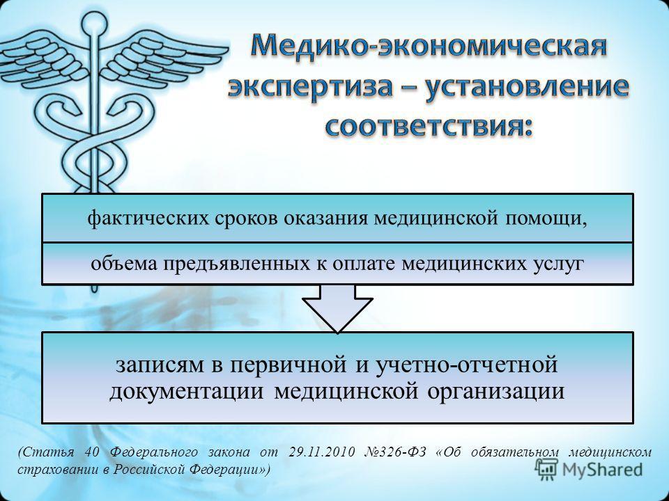 записям в первичной и учетно-отчетной документации медицинской организации фактических сроков оказания медицинской помощи, объема предъявленных к оплате медицинских услуг (Статья 40 Федерального закона от 29.11.2010 326-ФЗ «Об обязательном медицинско