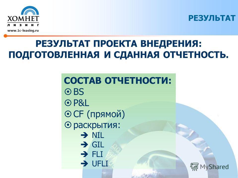 РЕЗУЛЬТАТ www.1c-leasing.ru РЕЗУЛЬТАТ ПРОЕКТА ВНЕДРЕНИЯ: ПОДГОТОВЛЕННАЯ И СДАННАЯ ОТЧЕТНОСТЬ. СОСТАВ ОТЧЕТНОСТИ: BS P&L CF (прямой) раскрытия: NIL GIL FLI UFLI