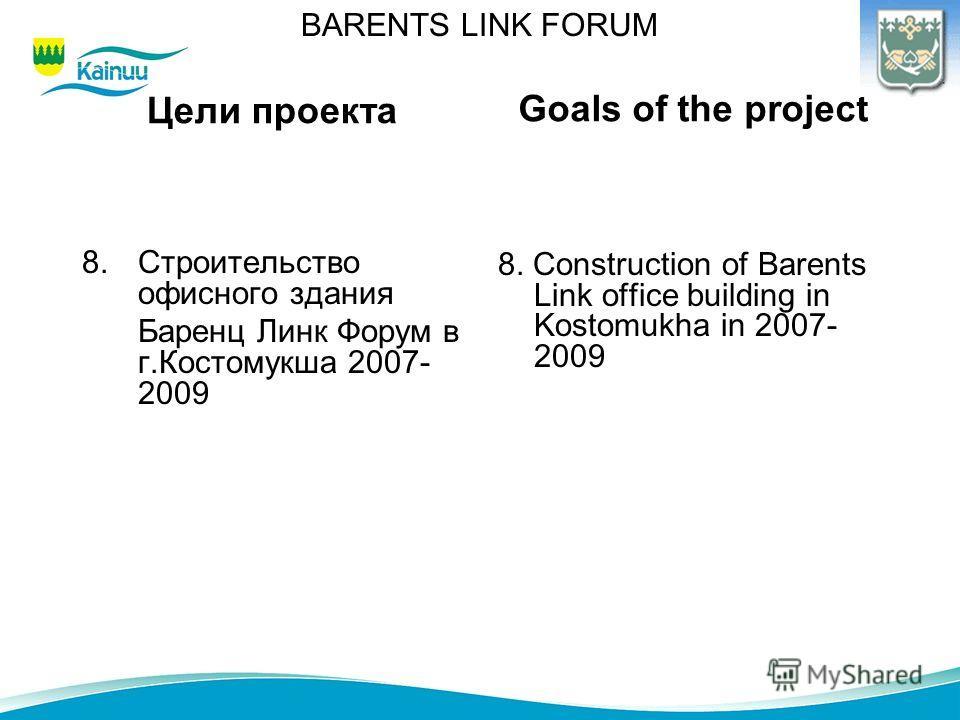 Цели проекта 8.Строительство офисного здания Баренц Линк Форум в г.Костомукша 2007- 2009 8. Construction of Barents Link office building in Kostomukha in 2007- 2009 Goals of the project BARENTS LINK FORUM