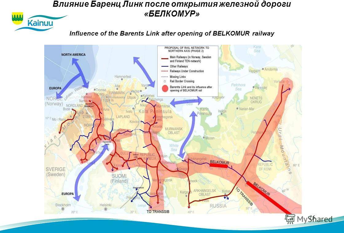 15 Влияние Баренц Линк после открытия железной дороги «БЕЛКОМУР» Influence of the Barents Link after opening of BELKOMUR railway