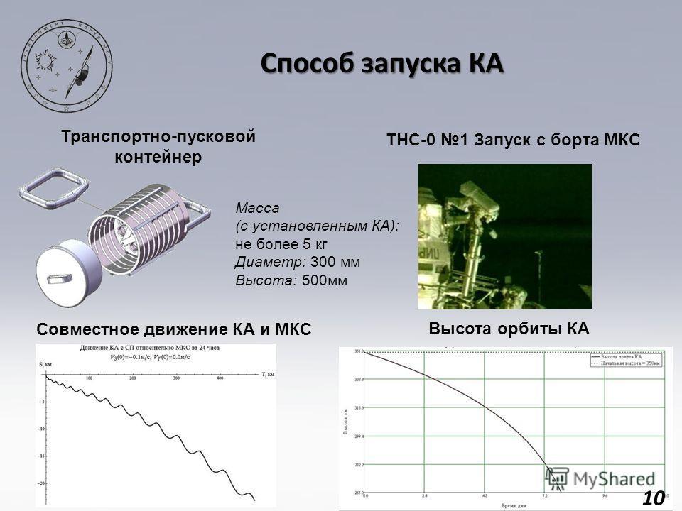 10 Способ запуска КА ТНС-0 1 Запуск с борта МКС Транспортно-пусковой контейнер Высота орбиты КА Масса (с установленным КА): не более 5 кг Диаметр: 300 мм Высота: 500мм Совместное движение КА и МКС