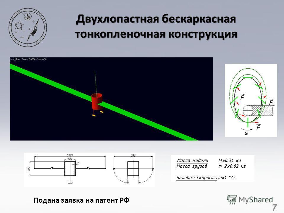 7 Двухлопастная бескаркасная тонкопленочная конструкция Подана заявка на патент РФ