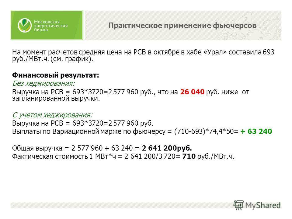 На момент расчетов средняя цена на РСВ в октябре в хабе «Урал» составила 693 руб./МВт.ч. (см. график). Финансовый результат: Без хеджирования: Выручка на РСВ = 693*3720=2 577 960 руб., что на 26 040 руб. ниже от запланированной выручки. С учетом хедж
