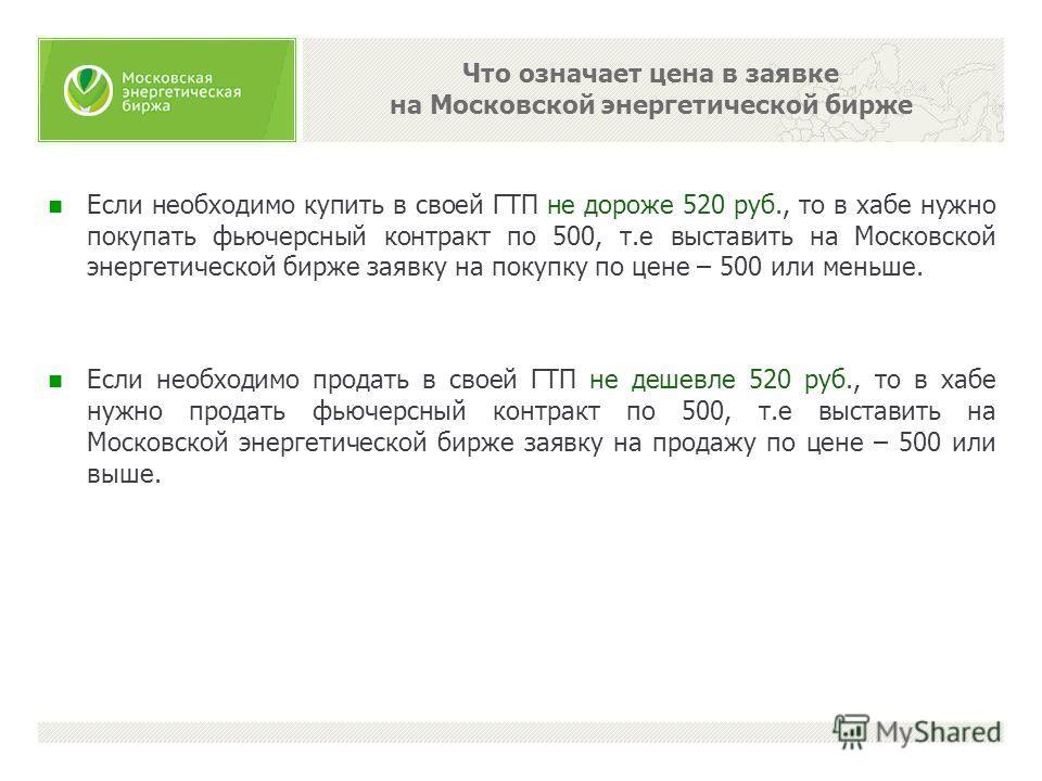 Что означает цена в заявке на Московской энергетической бирже Если необходимо купить в своей ГТП не дороже 520 руб., то в хабе нужно покупать фьючерсный контракт по 500, т.е выставить на Московской энергетической бирже заявку на покупку по цене – 500