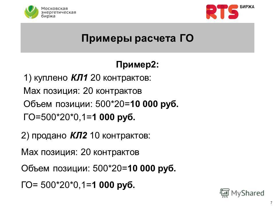 6 Примеры расчета ГО Пример1: 1) куплено КЛ1 20 контрактов: Позиция: 20 контрактов Объем позиции: 500*20=10 000 руб. ГО=500*20*0,1=1 000 руб. 2) продано КЛ1 10 контрактов: Позиция: 20 - 10 = 10 контрактов Объем позиции: 500*10=5 000 руб. ГО=500*(20-1