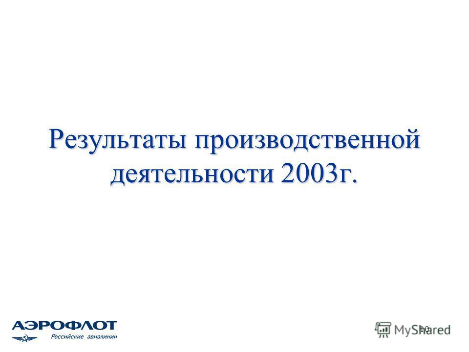 10 Результаты производственной деятельности 2003г.