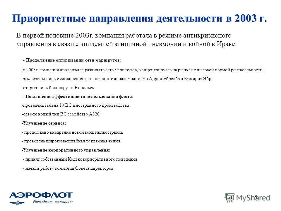 5 Приоритетные направления деятельности в 2003 г. - Продолжение оптимизации сети маршрутов: -в 2003г. компания продолжала развивать сеть маршрутов, концентрируясь на рынках с высокой нормой рентабельности. -заключены новые соглашения код - шеринг с а