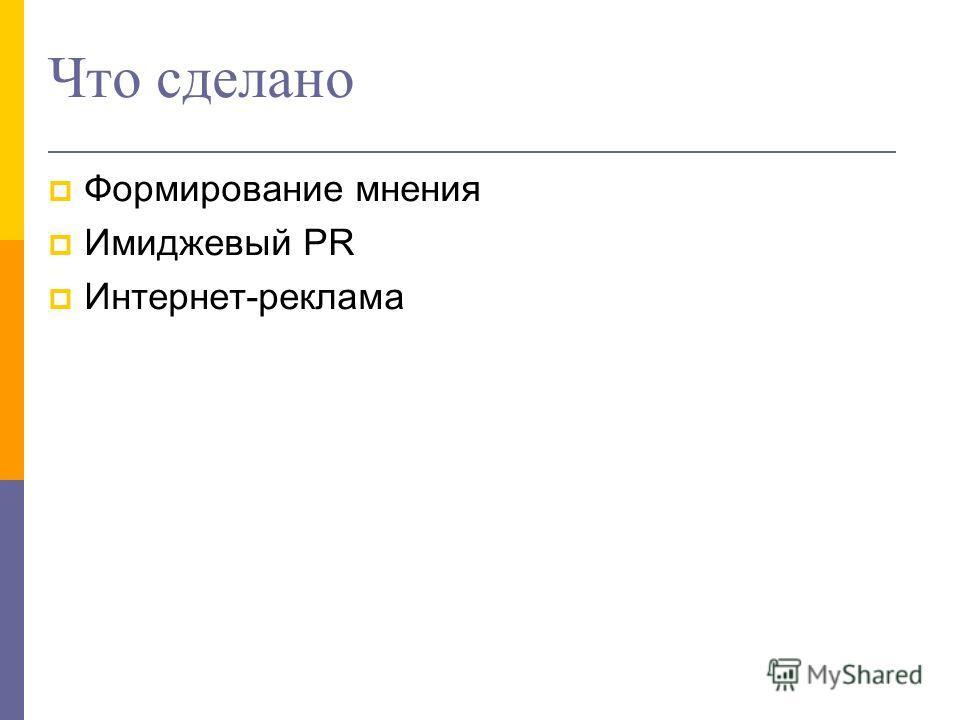 Что сделано Формирование мнения Имиджевый PR Интернет-реклама