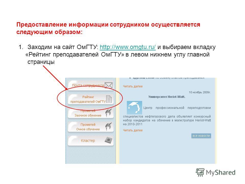 Предоставление информации сотрудником осуществляется следующим образом: 1.Заходим на сайт ОмГТУ: http://www.omgtu.ru/ и выбираем вкладкуhttp://www.omgtu.ru/ «Рейтинг преподавателей ОмГТУ» в левом нижнем углу главной страницы