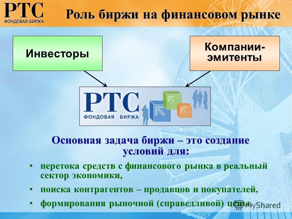 Основная задача биржи – это создание условий для: перетока средств с финансового рынка в реальный сектор экономики, поиска контрагентов – продавцов и покупателей, формирования рыночной (справедливой) цены. Инвесторы Роль биржи на финансовом рынке Ком