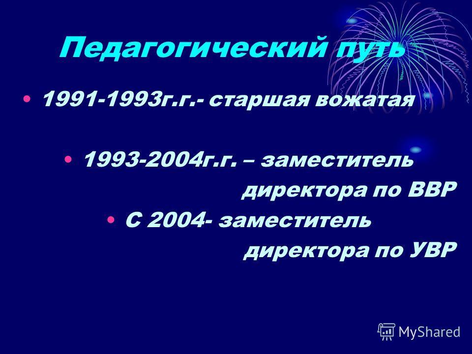 Педагогический путь 1991-1993г.г.- старшая вожатая 1993-2004г.г. – заместитель директора по ВВР С 2004- заместитель директора по УВР