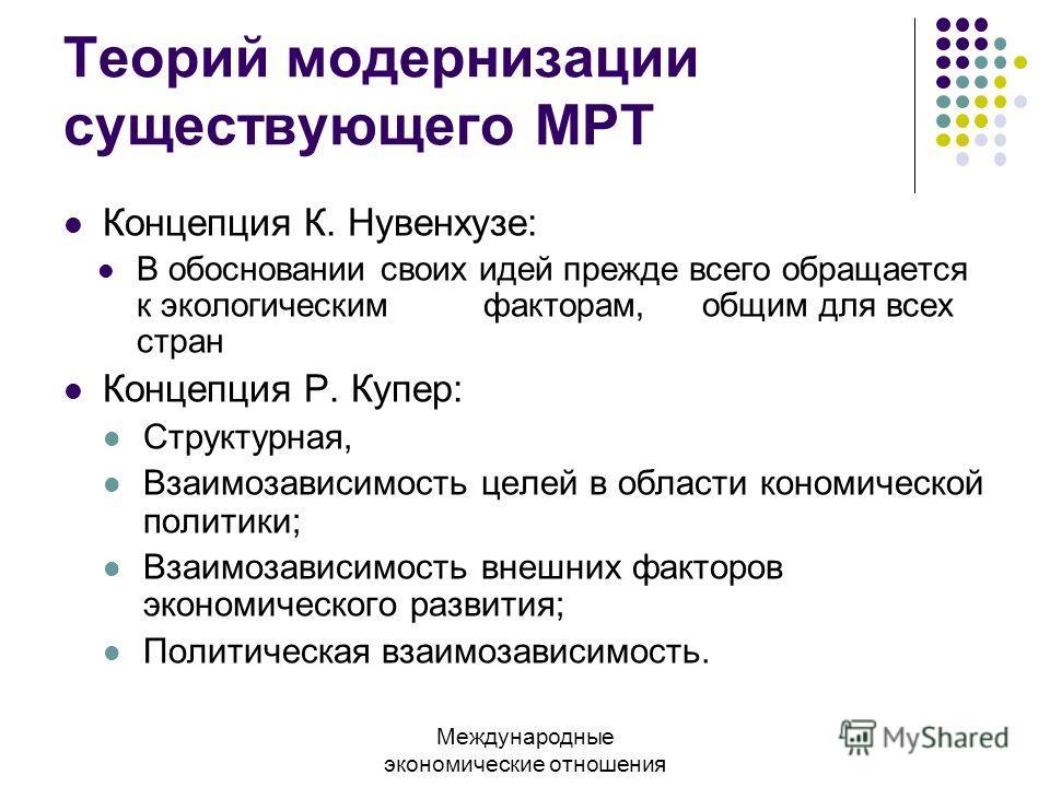 Теорий модернизации существующего МРТ Концепция К. Нувенхузе: В обосновании своих идей прежде всего обращается к экологическим факторам, общим для всех стран Концепция Р. Купер: Структурная, Взаимозависимость целей в области кономической политики; Вз