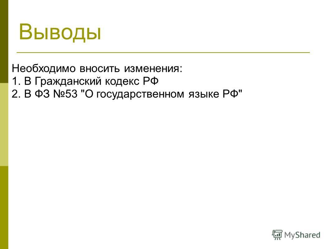 Выводы Необходимо вносить изменения: 1. В Гражданский кодекс РФ 2. В ФЗ 53 О государственном языке РФ