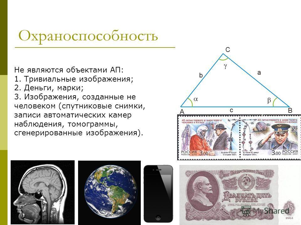 Охраноспособность Не являются объектами АП: 1. Тривиальные изображения; 2. Деньги, марки; 3. Изображения, созданные не человеком (спутниковые снимки, записи автоматических камер наблюдения, томограммы, сгенерированные изображения).
