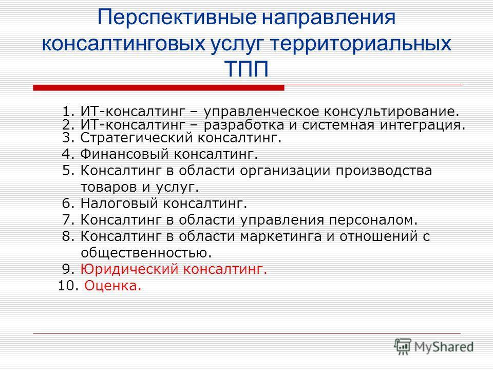 Перспективные направления консалтинговых услуг территориальных ТПП 1. ИТ-консалтинг – управленческое консультирование. 2. ИТ-консалтинг – разработка и системная интеграция. 3. Стратегический консалтинг. 4. Финансовый консалтинг. 5. Консалтинг в облас