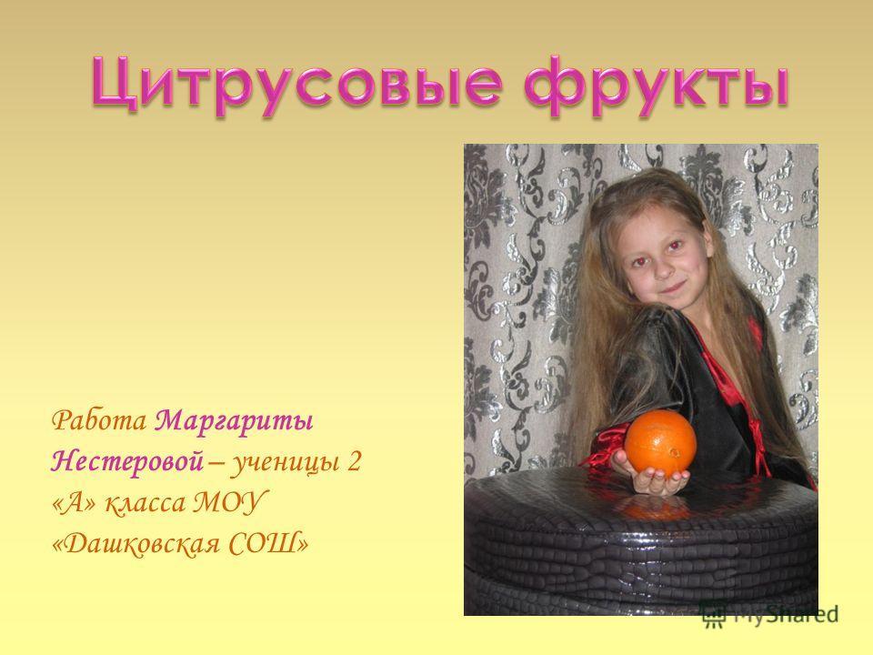 Работа Маргариты Нестеровой – ученицы 2 «А» класса МОУ «Дашковская СОШ»