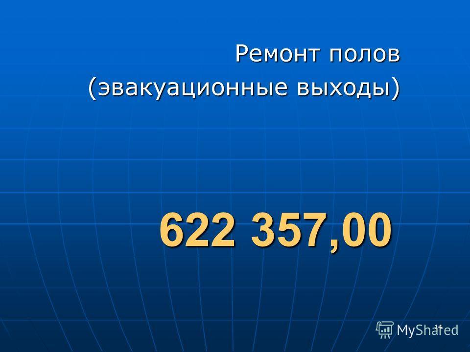 14 Ремонт полов (эвакуационные выходы) 622 357,00