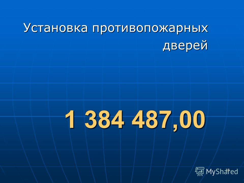18 Установка противопожарных дверей 1 384 487,00