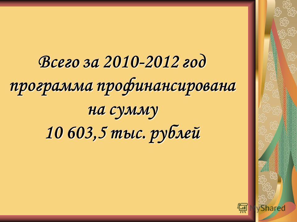 Всего за 2010-2012 год программа профинансирована на сумму 10 603,5 тыс. рублей