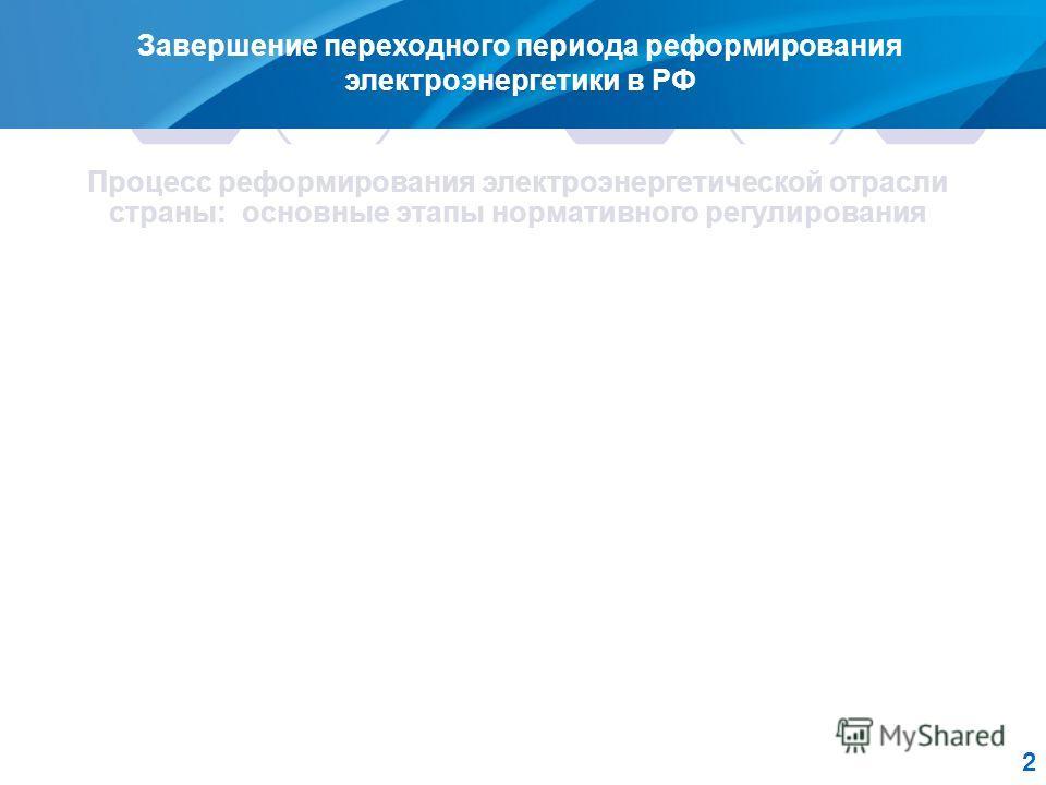 2 Завершение переходного периода реформирования электроэнергетики в РФ Процесс реформирования электроэнергетической отрасли страны: основные этапы нормативного регулирования 1. Основные направления реформирования электроэнергетики (постановление Прав
