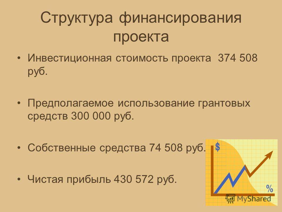 Структура финансирования проекта Инвестиционная стоимость проекта 374 508 руб. Предполагаемое использование грантовых средств 300 000 руб. Собственные средства 74 508 руб. Чистая прибыль 430 572 руб.