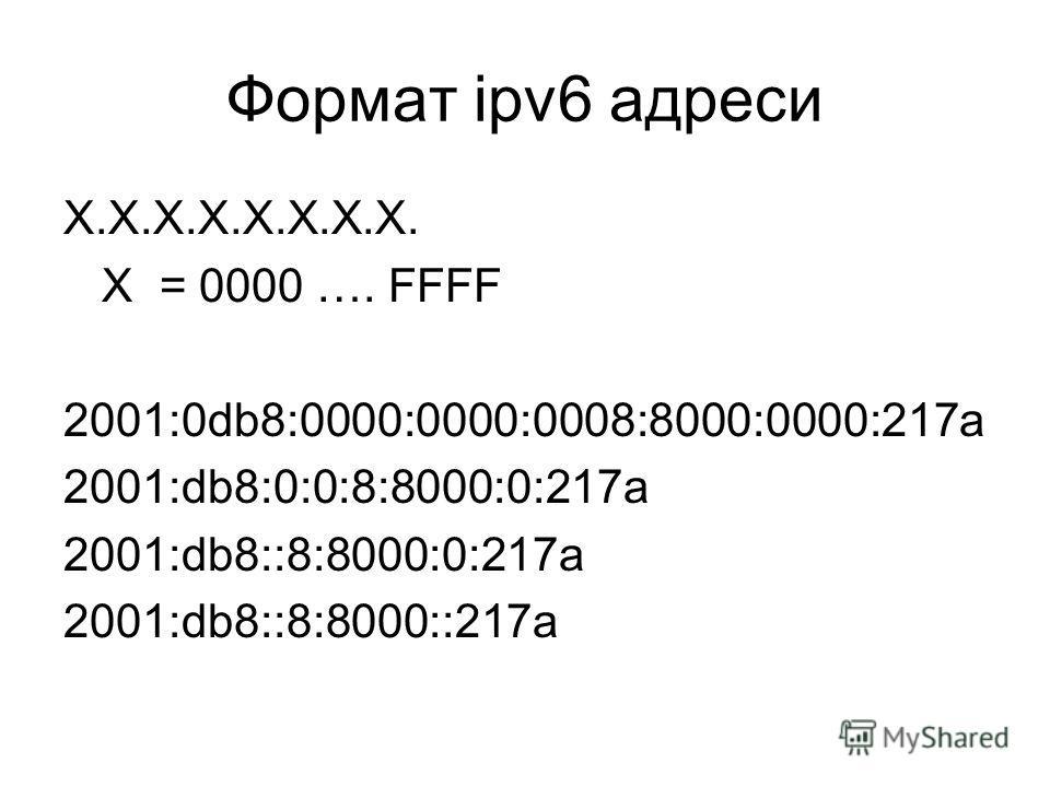Формат ipv6 адреси X.X.X.X.X.X.X.X. X = 0000 …. FFFF 2001:0db8:0000:0000:0008:8000:0000:217a 2001:db8:0:0:8:8000:0:217a 2001:db8::8:8000:0:217a 2001:db8::8:8000::217a