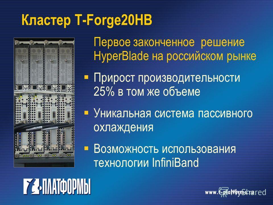 Кластер T-Forge20HB Первое законченное решение HyperBlade на российском рынке Прирост производительности 25% в том же объеме Уникальная система пассивного охлаждения Возможность использования технологии InfiniBand