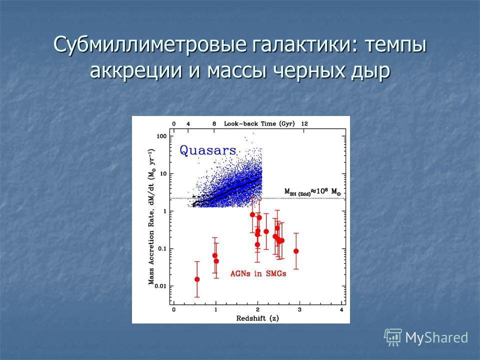Субмиллиметровые галактики: темпы аккреции и массы черных дыр