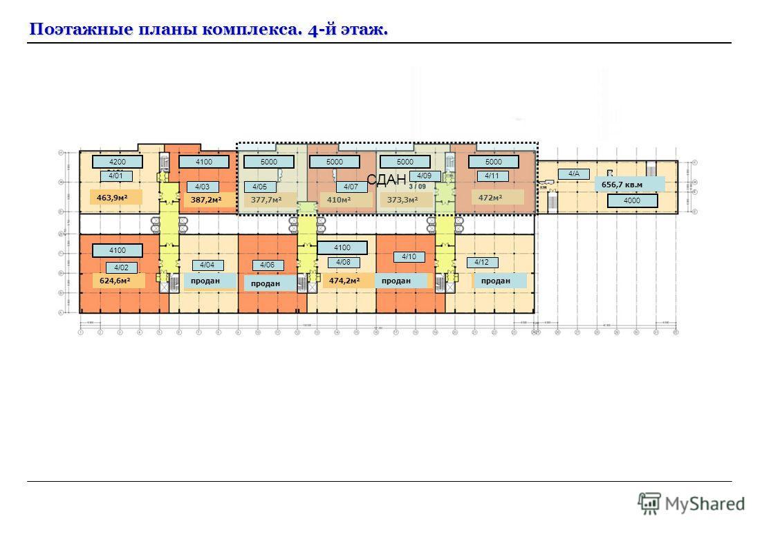 Поэтажные планы комплекса. 4-й этаж. 379,8м² 387,2м²377,7м² 463,9м² 410м²373,3м² 624,6м² 476,5м²476,6,7м² 474,2м²476,6м² 472м² 624,6продан 656,7 кв.м СДАН 420041005000 4100 4000 5000 4/114/01 4/03 4/02 4/044/06 4/08 4/10 4/12 4/А 4/054/07 4/09