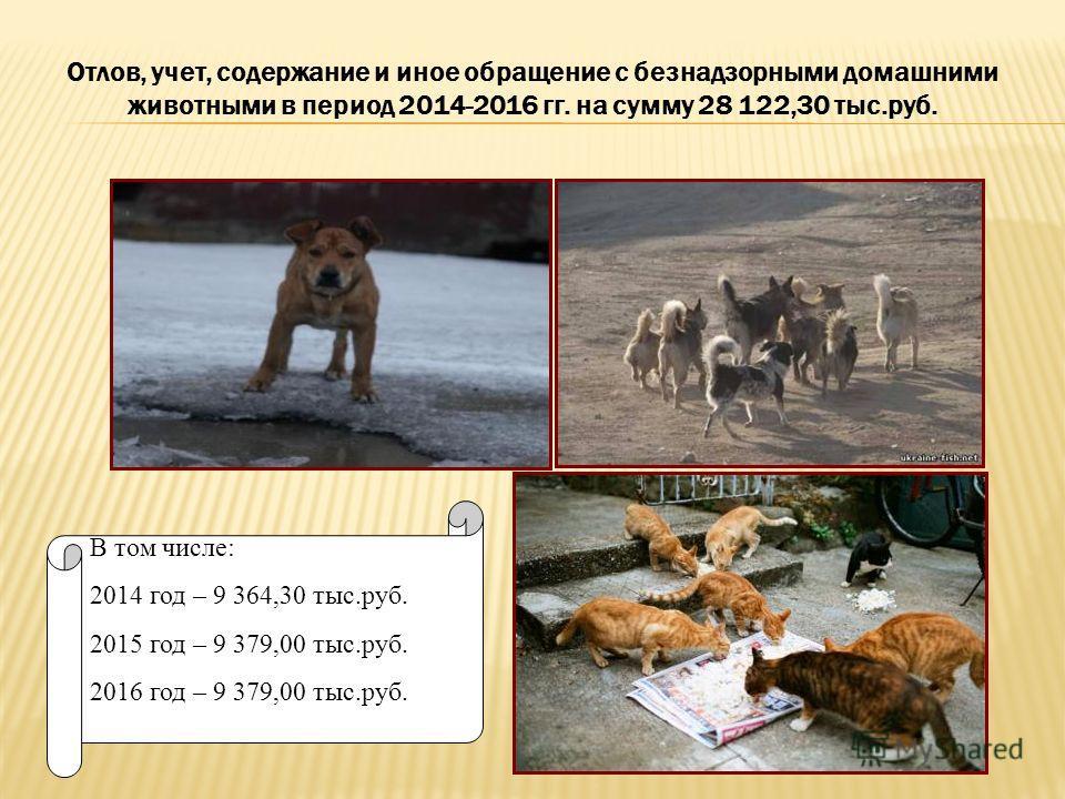 Отлов, учет, содержание и иное обращение с безнадзорными домашними животными в период 2014-2016 гг. на сумму 28 122,30 тыс.руб. В том числе: 2014 год – 9 364,30 тыс.руб. 2015 год – 9 379,00 тыс.руб. 2016 год – 9 379,00 тыс.руб.
