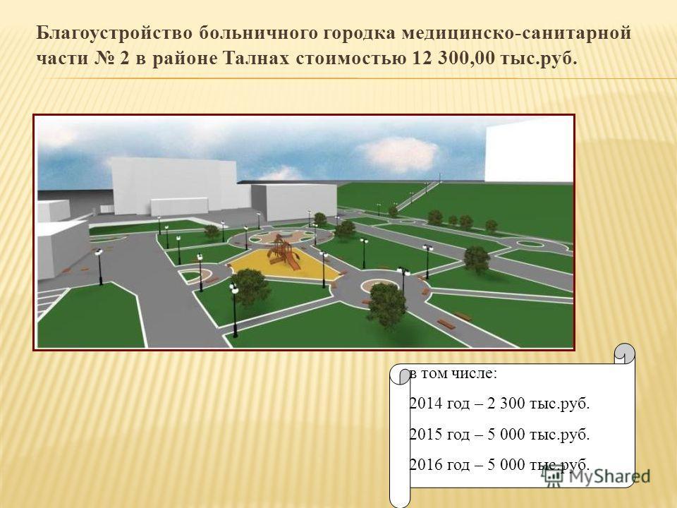Благоустройство больничного городка медицинско-санитарной части 2 в районе Талнах стоимостью 12 300,00 тыс.руб. в том числе: 2014 год – 2 300 тыс.руб. 2015 год – 5 000 тыс.руб. 2016 год – 5 000 тыс.руб.