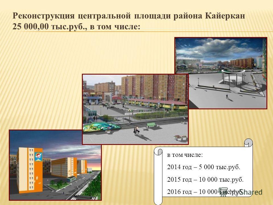 Реконструкция центральной площади района Кайеркан 25 000,00 тыс.руб., в том числе: в том числе: 2014 год – 5 000 тыс.руб. 2015 год – 10 000 тыс.руб. 2016 год – 10 000 тыс.руб.