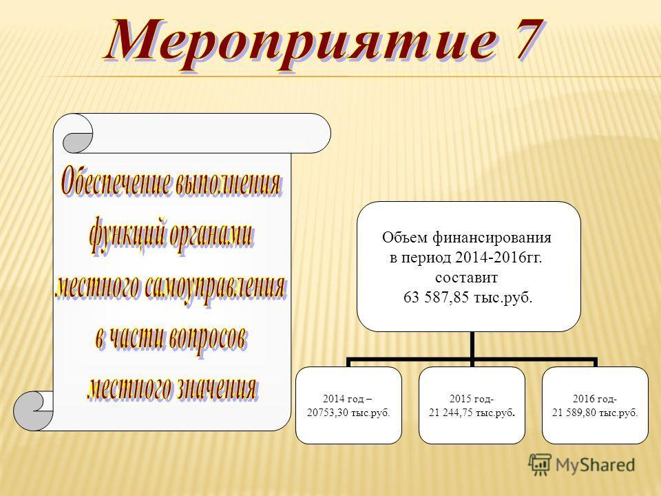 . 2014 год – 20753,30 тыс.руб. 2015 год- 21 244,75 тыс.руб. 2016 год- 21 589,80 тыс.руб. Объем финансирования в период 2014-2016гг. составит 63 587,85 тыс.руб.