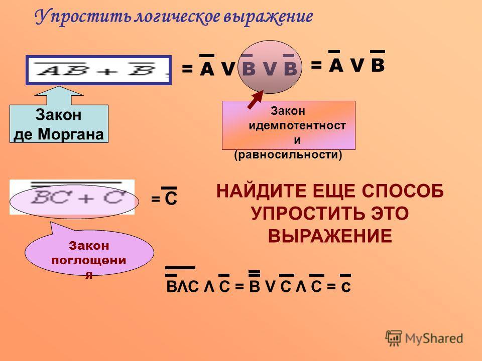 Закон де Моргана = А V В V В Закон идемпотентност и (равносильности) = А V В Упростить логическое выражение Закон поглощени я = С НАЙДИТЕ ЕЩЕ СПОСОБ УПРОСТИТЬ ЭТО ВЫРАЖЕНИЕ ВΛС Λ С = В V С Λ С = с