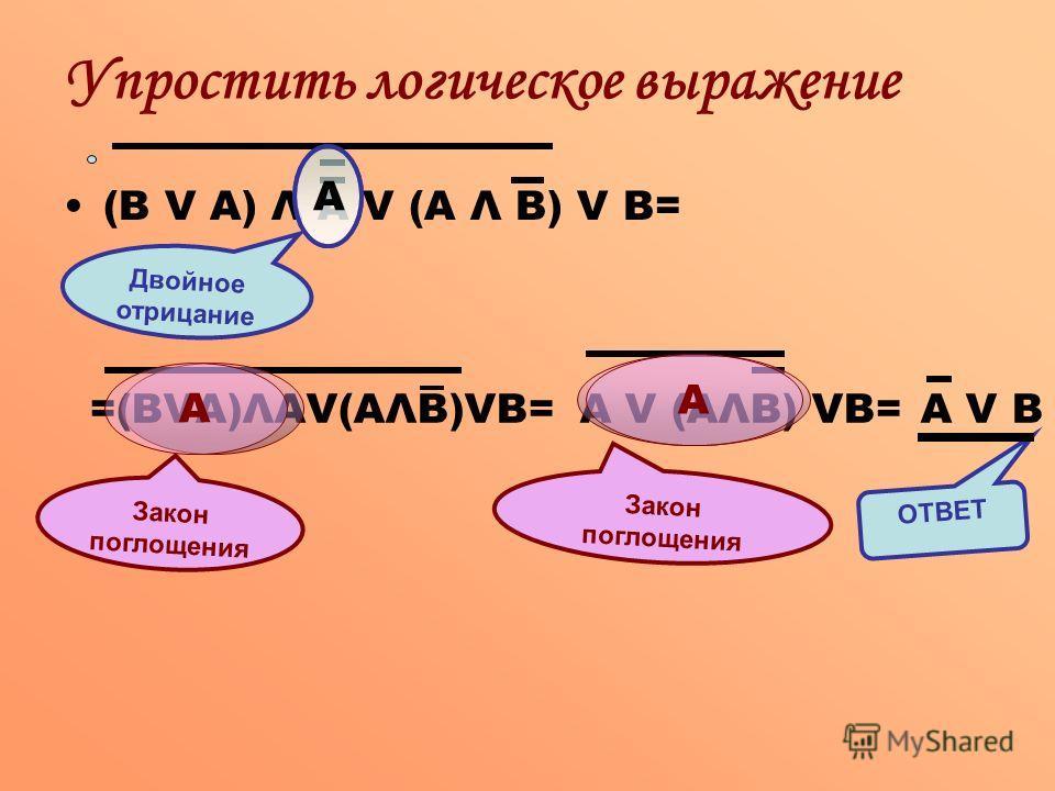(В V А) Λ А V (А Λ В) V В= Упростить логическое выражение Двойное отрицание А =(ВVА)ΛАV(АΛВ)VВ= Закон поглощения А А V (АΛВ) VВ= Закон поглощения А А V В ОТВЕТ