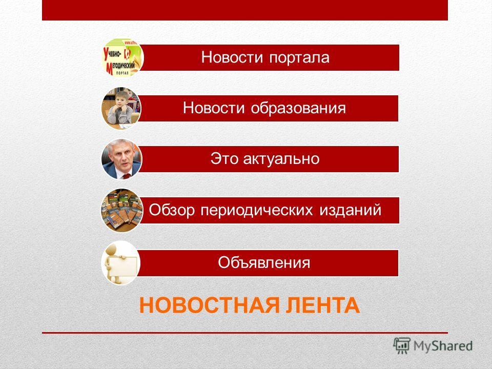 НОВОСТНАЯ ЛЕНТА Новости портала Новости образования Это актуально Обзор периодических изданий Объявления