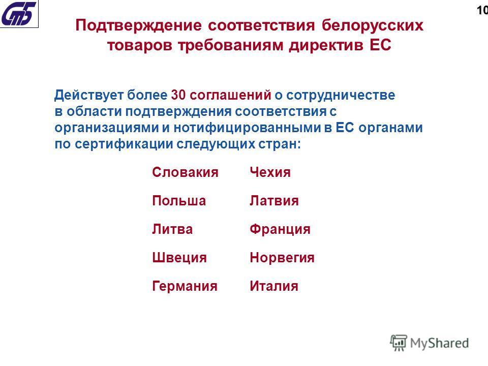 Действует более 30 соглашений о сотрудничестве в области подтверждения соответствия с организациями и нотифицированными в ЕС органами по сертификации следующих стран: СловакияЧехия ПольшаЛатвия ЛитваФранция ШвецияНорвегия ГерманияИталия Подтверждение