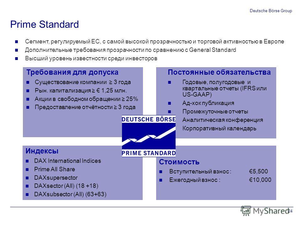 0 102 0 153 51 204 102 153 204 153 102 51 000000 255 204 51 175 230 0 119 183 0 255 102 0 255 204 0 24 Deutsche Börse Group Prime Standard Сегмент, регулируемый ЕС, с самой высокой прозрачностью и торговой активностью в Европе Дополнительные требован